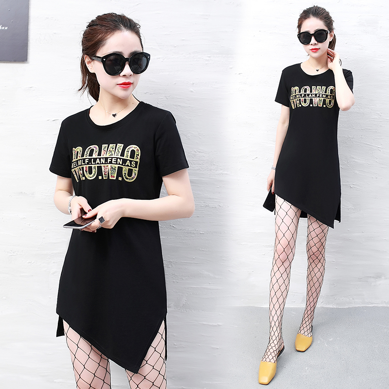Factory Direct Women Tops Tees 95%Cotton+5%Spandex printing decorative casual The new oblique pendulum Short sleeve long t shirt-in T-Shirts from Women's Clothing    1