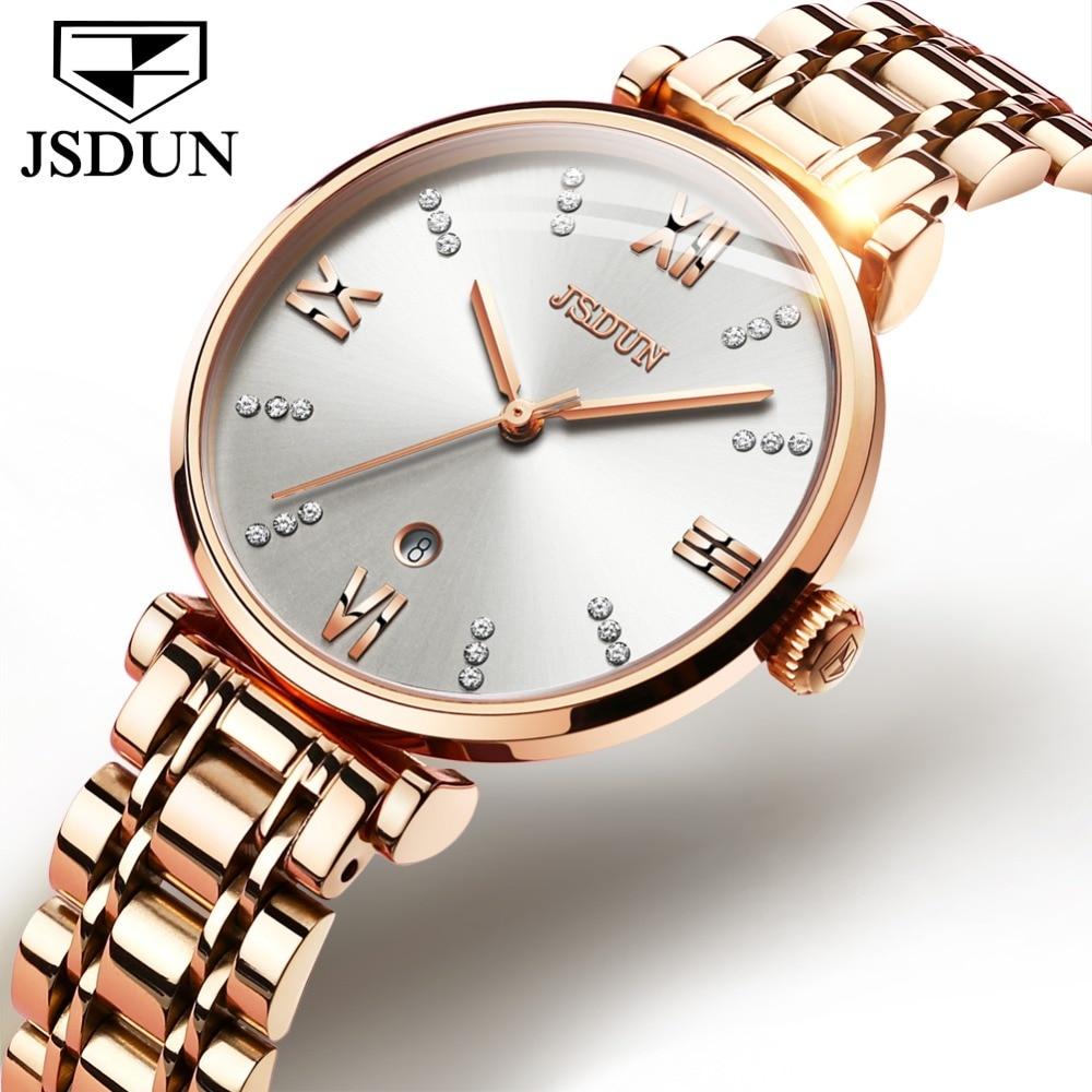 JSDUN Luxury Casual Ladies Watch Waterproof Rose Gold Steel Mesh Quartz Watch Women Fashion Dress Watches