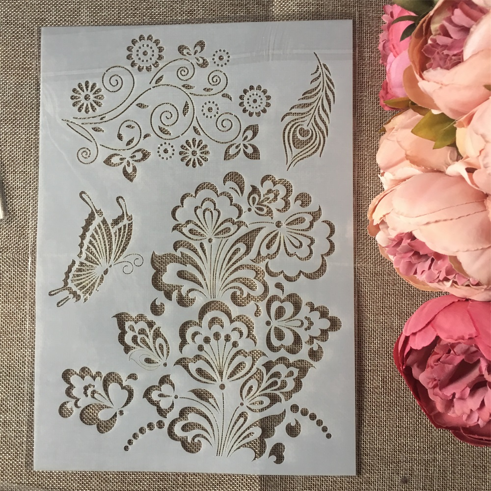 1Pcs A4 Butterfly Flower DIY Layering Stencils Wall Painting Scrapbook Coloring Embossing Album Decorative Paper Card Template