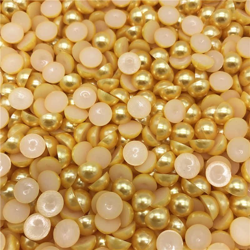 4-10mm imitação de ouro pérola metade redonda pérola grânulo plana volta scrapbook para telefone caso scrapbook feminino arte do prego jóias fazendo