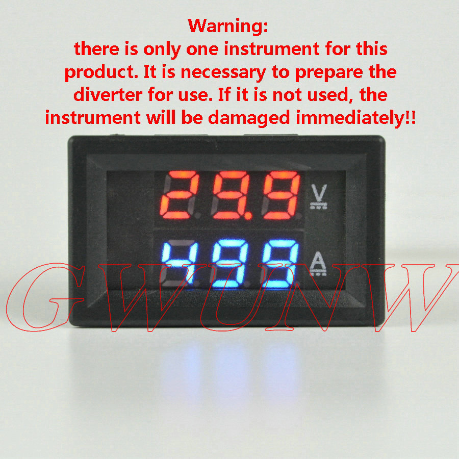 GWUNW BY32A 200V 20A-500A DC Voltage Ammeter Current Tester Meter Voltmeter Dual LED Display [***Must have a shunt to use***]