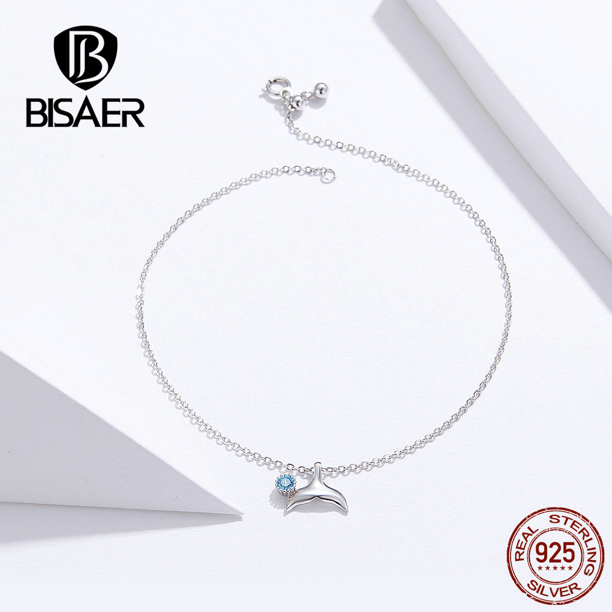 BISAER Mermaid Anklets 925 Sterling Silver Mermaid's Story Chain Silver Anklets for Women Sterling Silver Jewelry ECT004 1