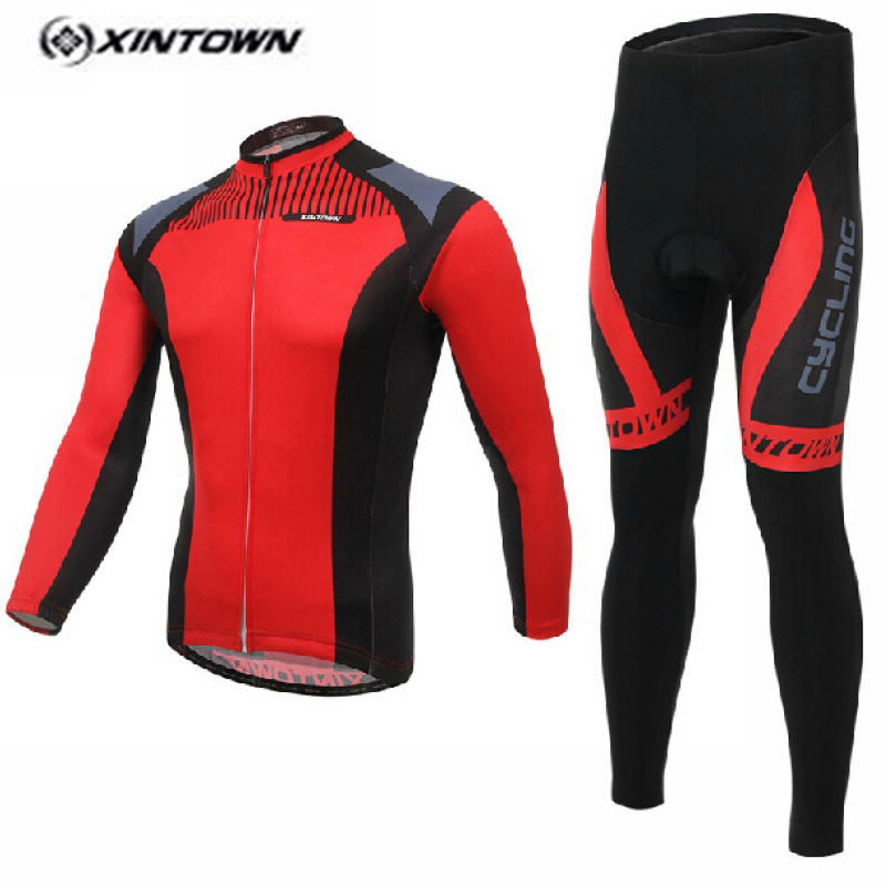 XINTOWN MTB Bike jersey Bib Pants Sets Team Men Pro Cycling clothing Suits Spring Red Black Riding Wear Long Sleeve Shirts