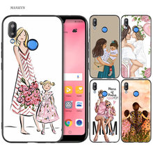 Silicone Case Cover for Huawei P20 P10 P9 P8 Lite Pro 2017 P Smart+ 2019 Nova 3i 3E Phone Cases Mother and child cartoon(China)