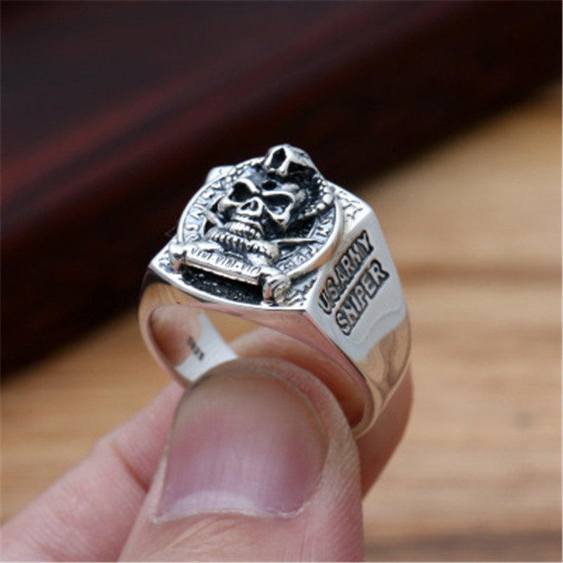 BESTLYBUY Factory wholesale S925 sterling silver jewelry retro fashion Thai silver men's personality Pirates skull ring cd david bowie earthling