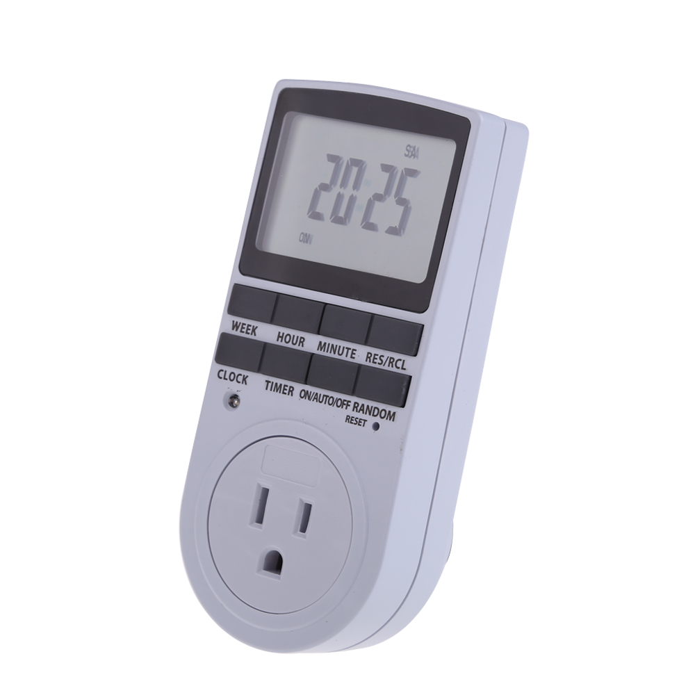 Electronic Digital Plug-in Digital Timer 24h 7day Week with LCD Display for Indoor Appliance Light/TV/PC/Fans/Kitchen US/EU Plug цена