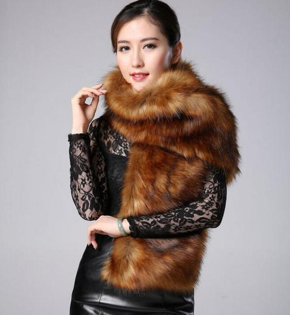 2015 new faux fur collar fox fur scarves imitation raccoon fur scarves wool shawl winter woman