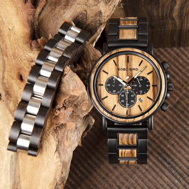 relogio masculino BOBO BIRD Men Watch Wood Bracelet Set Chronograph Quartz Watches in Wooden Box Drop Shipping Engraving