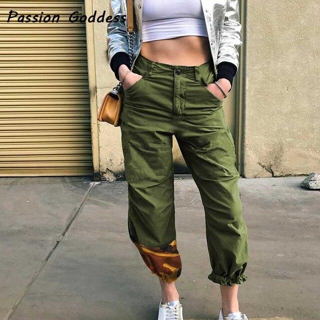 Loisirs Punk Femmes Militaire Baggy pantalons de Survêtement 2018 Orange  Camouflage Patchwork Pantalon Cargo ArmyGreen Femme c90f40ac4fc