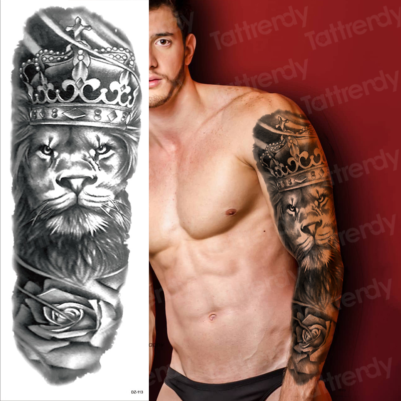 Men Temporary Tattoo Full Arm Sleeve Temporary Lion Tattoos Large King Tattoo Long Sleeve Sexy Fake Tatoo Boys Waterproof Black