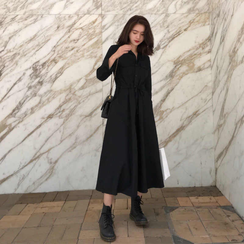 2019 винтажное приталенное платье с длинным рукавом, черное готическое платье, элегантные женские осенние платья для женщин, Vestido Robe туника