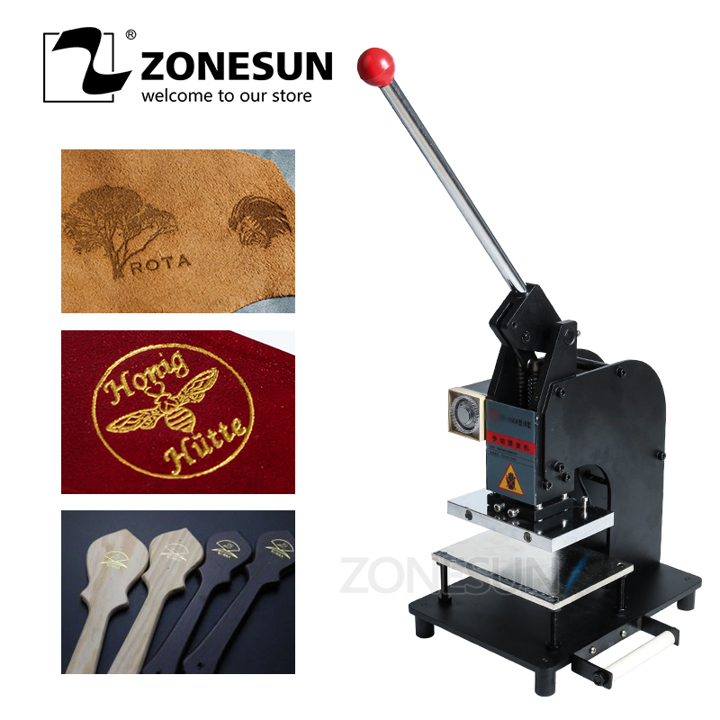 ZONESUN 10*15cm Large Manual Leather Logo Paper Hot Foil Stamping Embossing Machine Heat Press Machine FREE SHIPPING