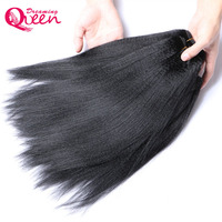 Brazilian Permed Light Yaki Straight Human Hair Extension Only 1 Bundle Dreaming Queen 100 Remy Hair