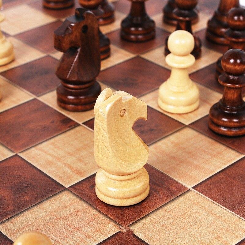 Xadrez internacional dobrável 3 em 1, conjunto de xadrez de madeira