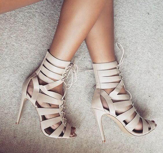 2017 Summer Women Solid Beige Color Gladiator Cuts Out Zip Back Lace Up Front Stiletto Heels Short Mid-calf Boots