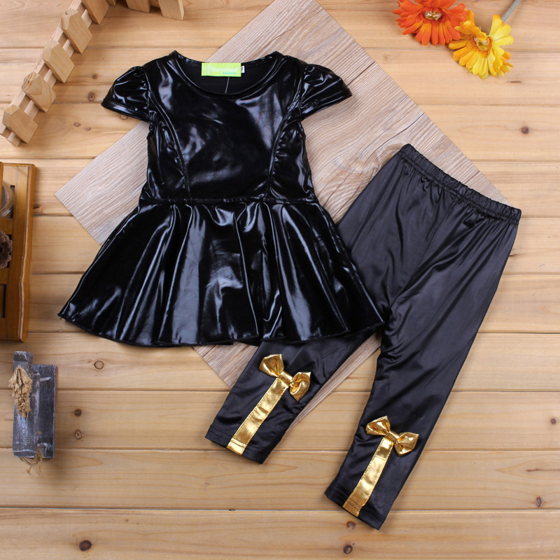 Little Girls Yellow Black Floral Butterfly Shirt /& Leggings Set 2 Pc Outfit