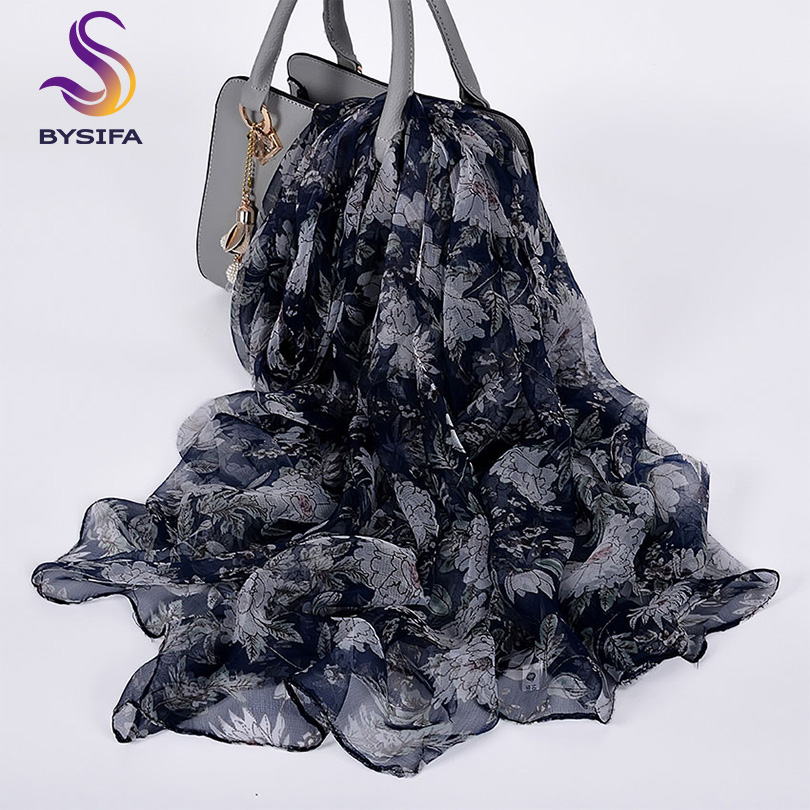 [BYSIFA] Women Floral   Scarves   Echarpe Summer Beach Shawl Cover-up Bufand Fall Winter Navy Blue White Long Neck   Scarves     Wraps