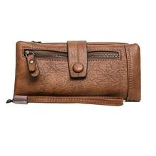 6937e5c4e Nobuck suave carteras de cuero de las mujeres bolso monedero larga chequera  embrague bolsa cremallera cartera titular de la tarj.