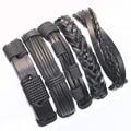 FL24-5pcs черный браслет подлинная плетеный wrap кожаные браслеты мужчин 2017 браслеты для женщин pulseira masculina couro mujer femme