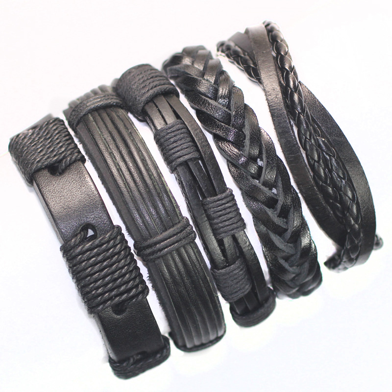 FL24-5pcs black wristband genuine braided wrap leather braces