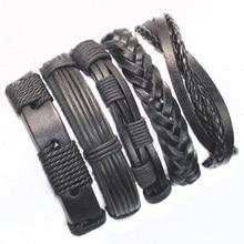 Здесь можно купить   FL24-free shipping (5pcs/lot) 2013 all black wristband genuine braided ethnic leather bracelet with hemp rope for gift Fashion Jewelry