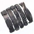 FL24-5pcs preto genuíno pulseira de couro trançado envoltório pulseiras homens 2017 pulseiras para as mulheres pulseira masculina couro mujer femme