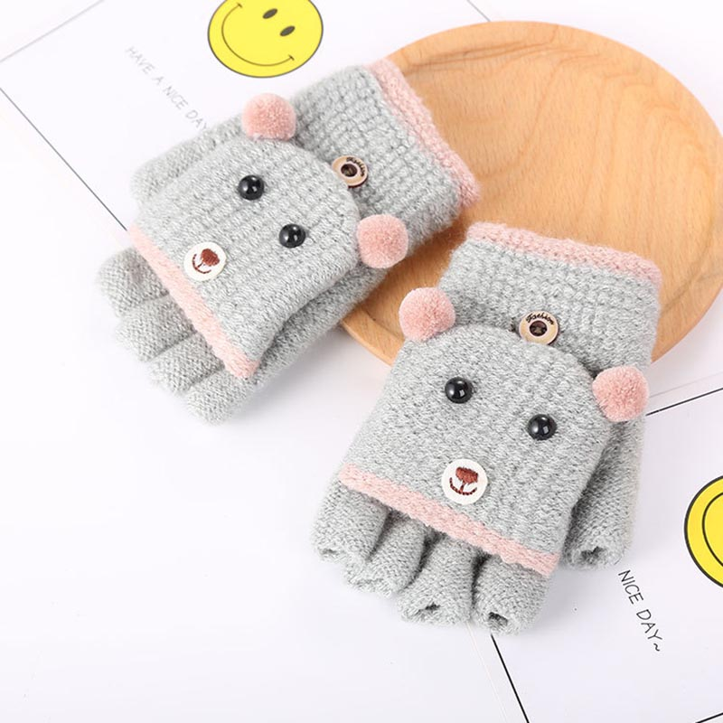 4 10 Years Old Winter Kids Gloves Cartoon Bear Knitted Gloves Half Finger Warm Mittens Fashion Children Gloves for Boys Girls in Men 39 s Gloves from Apparel Accessories