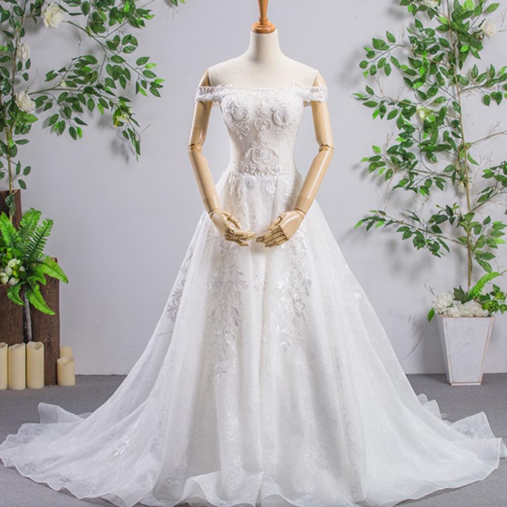 d308ae6907da7 Short Sleeve A-line Wedding Gowns Turkey Vestidos De Casamento Off The  Shoulder Lace Up Back Beading Appliques Bridal Dress ~ Perfect Deal July  2019