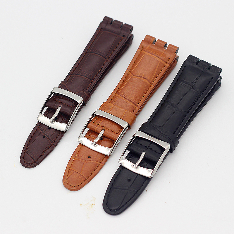 17 19mm 21mm 23mm High Quality Cow Leather Watch Strap Band For SWATCH Watchbands Women's Men's Wrist Watch Bracelet Accessories цены