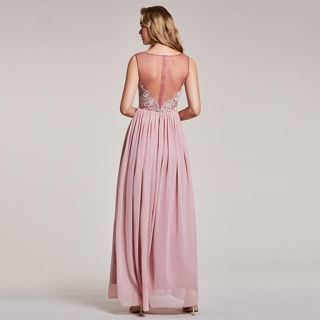 dd4b67cd7b Tanpell v neck lace evening dress pearl pink sleeveless appliques a line  floor length dresses women prom party long evening gown