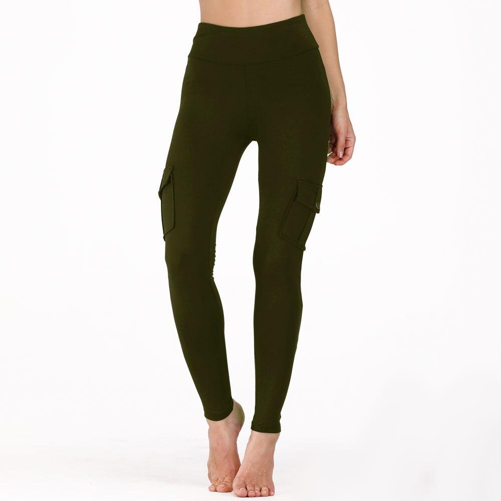 Image 2 - Nessaj High Waist Fitness Leggings Women Pocket Leggings Solid Color Push Up Legging Women Clothing Polyester Leggings-in Leggings from Women's Clothing