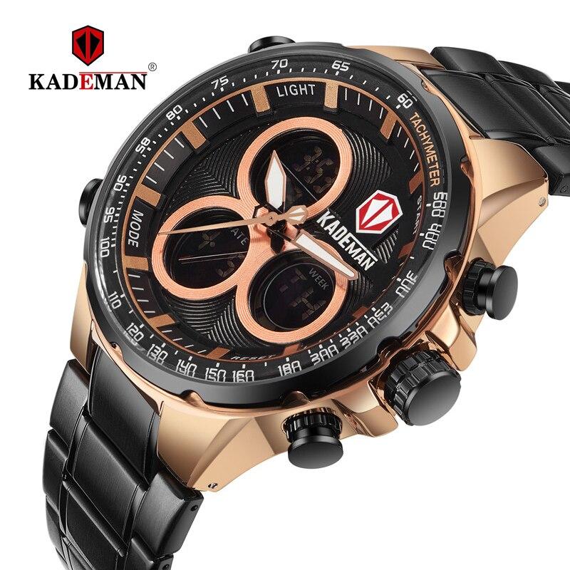أعلى الفاخرة العلامة التجارية KADEMAN الرجال الرياضة الساعات إضاءة مقاومة للماء الرقمية العرض المزدوج الكوارتز العسكرية الفولاذ سوار فولاذي جديد K6169-في الساعات الرياضية من ساعات اليد على  مجموعة 1