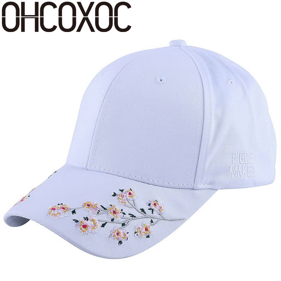 OHCOXOC wholesale new fashion women girl floral baseball cap white black pink solid cotton beauty hat spring summer autumn hats