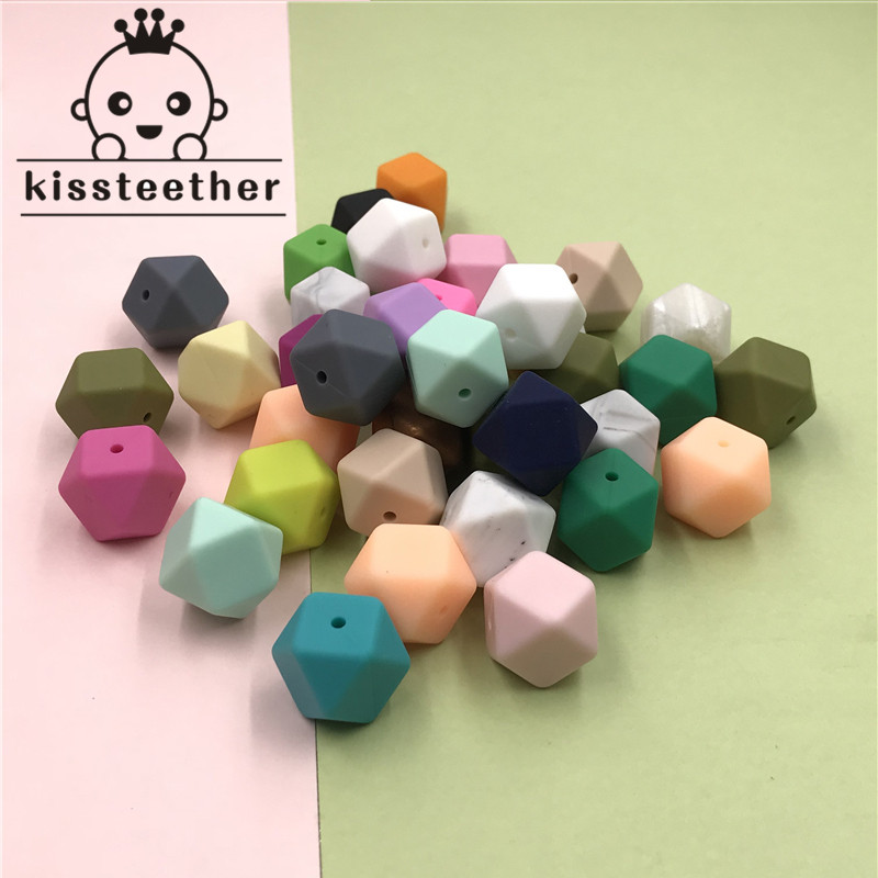 17mm Silicone Beads Teether Mix 50pc Food Grade Teether Geometric Octagonal DIY Necklace Bracelet Baby Teething Beads