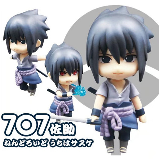 10cm Japanese anime figure Naruto Nendoroid#707 Uchiha Sasuke Q version action figure collectible model toys for boys nendoroid cynthia and garchomp action figures toys anime collectible model 507