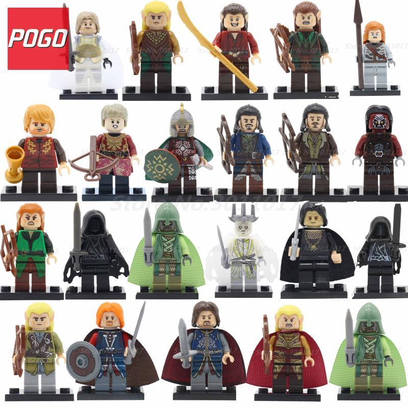 POGO Super Heroes Hobbit Figures Single Sale Rohan Cavalry DIY Model Building Blocks Set Bricks Educational