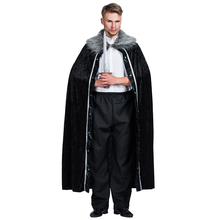 687f7f2cd 2018 New Winter Men Fur Cloak Game of Thrones Cosplay Manteau Medieval  Black Long Oversize Fur