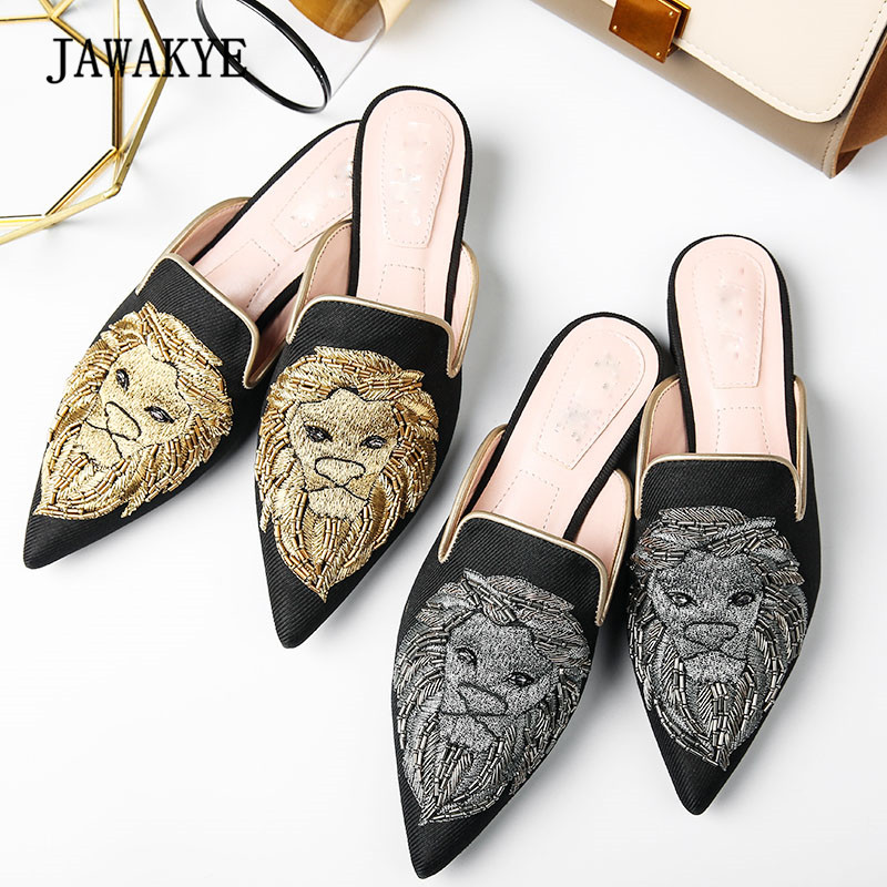 2018 Lion Embroidered Muller Shoes Women Pointed Toe Flat Casual Shoes Women Fashion Outside Slipper