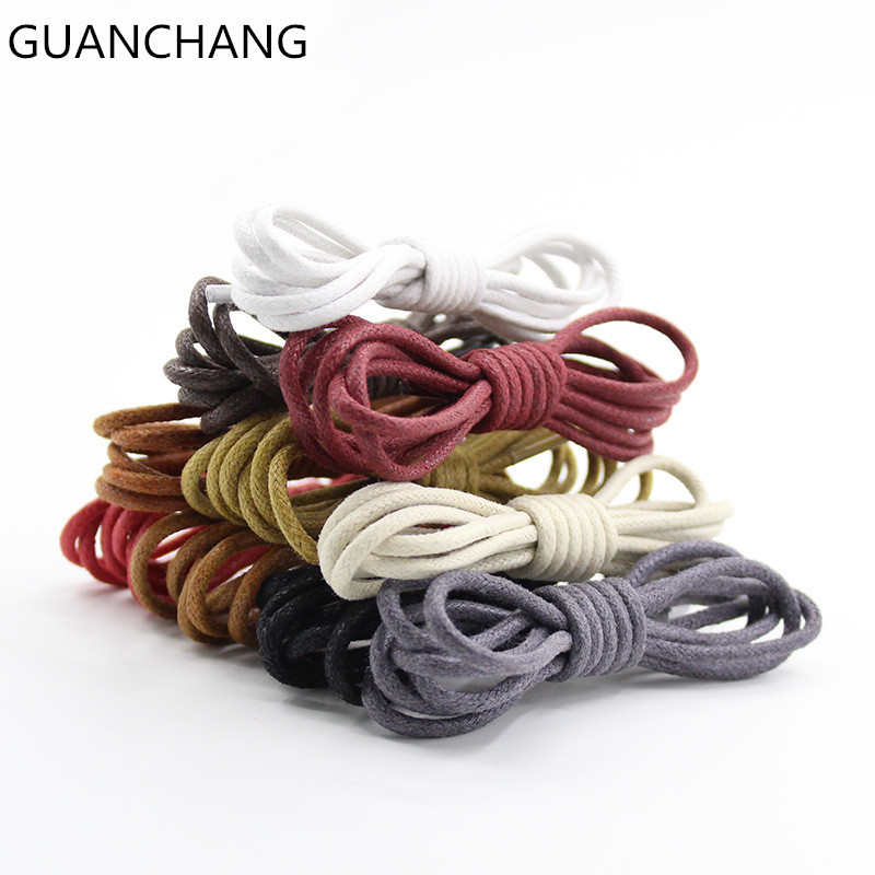 Waxed Shoelaces  Colored Cotton Waterproof Unisex Strings Cord For Leather Shoe Boots Round Sneake  Martin Sport Fashion