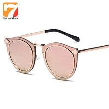 De Lujo más nuevo Marco Gafas de Sol Femeninas Gafas de Sol de Las Mujeres de Los Hombres de Metal de Oro Rosa Espejo Lente Shades Gafas de Ojo de Gato gafas de Sol de La Vendimia