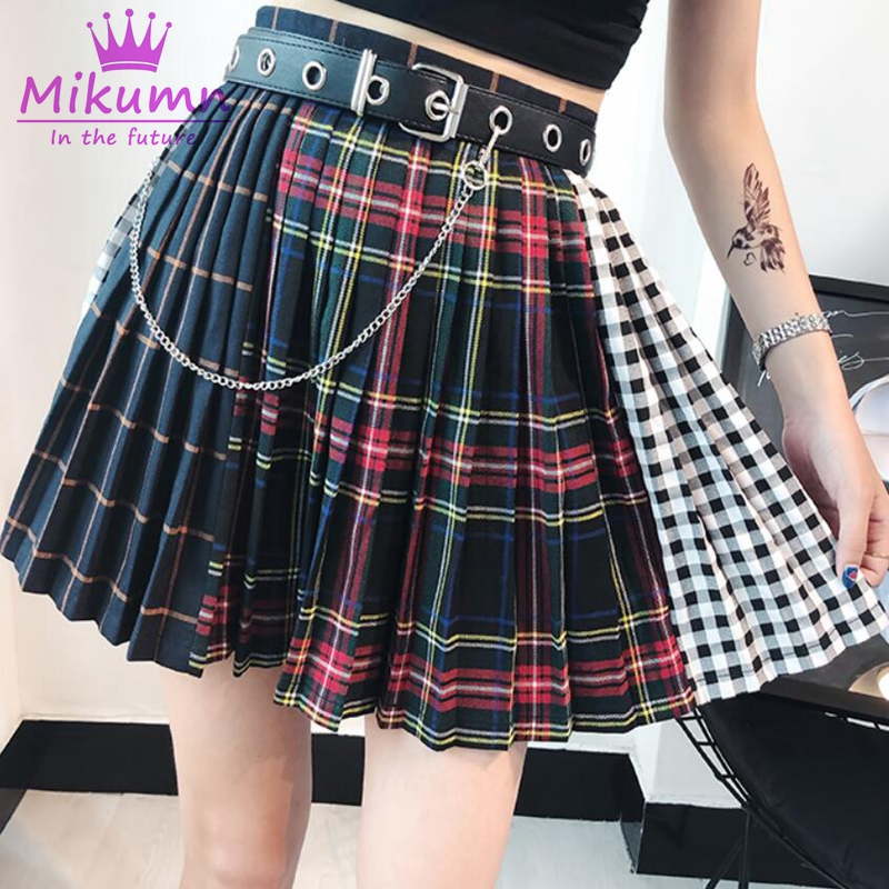 Short Skirt Plaid Punk-Style Pleaded Female Multicolor High-Waist Gothic Women Cute