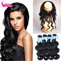 360 lace frontal with 2/3/4 bundle Peruvian virgin hair body wave, human hair with free part 360 Full Lace frontal body wave