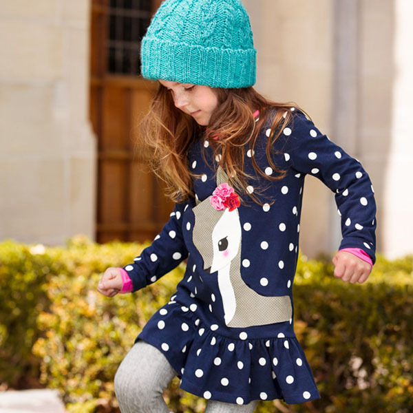 Toddlers Girls Dots Deer Pleated Cotton Dress Long Sleeve Dresses toddlers girls dots deer pleated cotton dress long sleeve dresses