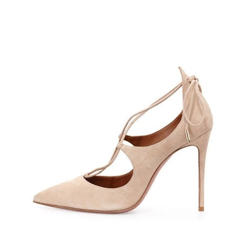 Plus Size 10 Pointed Toe Strappy Pumps For Women Ankle Wrap Lace-up Suede High Heel Dress Shoes Cut-out Spring Autumn Shoes 2017pink pointed toe flock velvet women ankle wrap high heels party dress lady designer pumps shoes lace up stiletto shoes woman