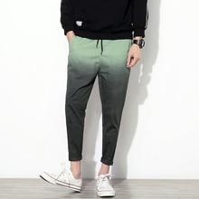 Gradient Color Men Pants Summer Slim Fit Drawstring Casual Harem Pant Mens Ankle Length Quality Cotton Men's Trousers Plus Size