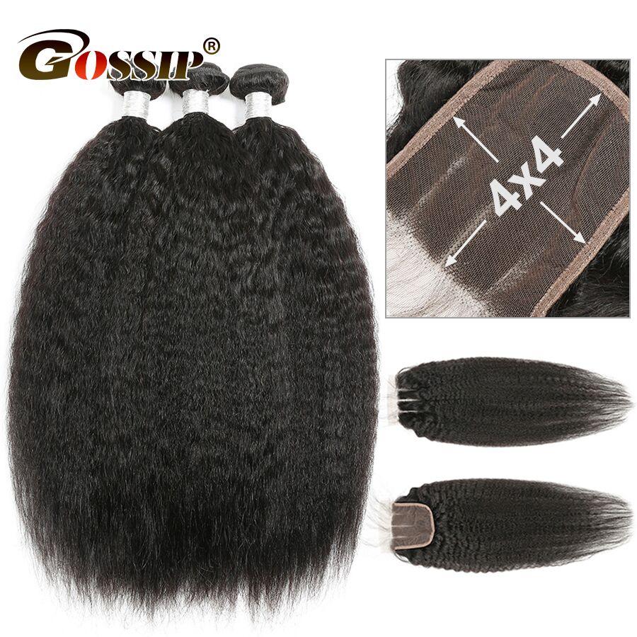 Kinky Straight Hair Bundles With Closure 100 Human Hair 3 Bundles With Closure Pre Plucked 4x4