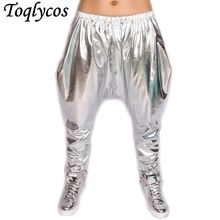 New personality Silver big crotch trousers stage performance costumes harem pants hip hop skinny pants 018(China)
