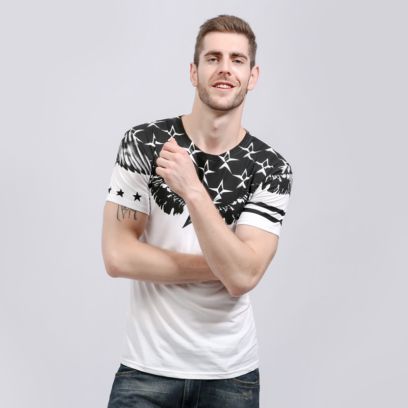2017 Summer High Quality T Shirt Mans Short Sleeve Casual Printing Cotton T-Shirts Slim Fit T-Shirt Clothing O-Neck T Shirt Men