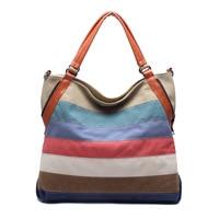 Stylish Color Matching Striped Tote Bag For Ladies Fashion Patchwork Designer Canvs Shoulder Bag Women Classy