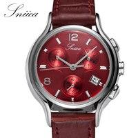 SNIICA Women Watches Round Red Dial Waterproof Wristwatch Leather Watchband Ladies Quartz Watch Women Montre Femme